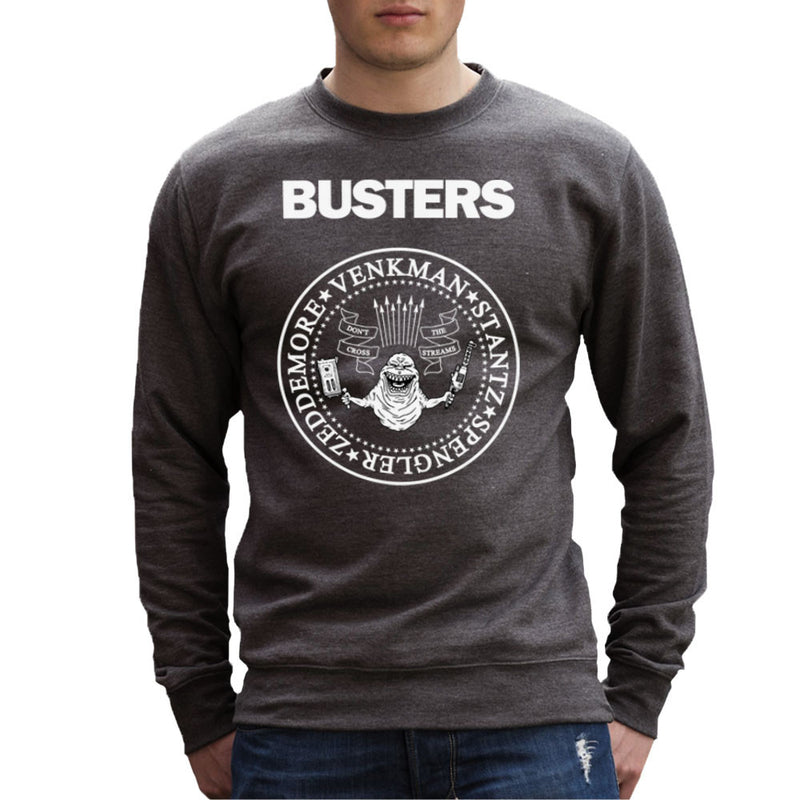Ramones Busters Slimer Ghostbusters Logo White Men's Sweatshirt Men's Sweatshirt Cloud City 7 - 4
