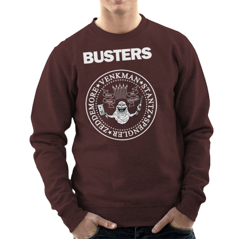 Ramones Busters Slimer Ghostbusters Logo White Men's Sweatshirt Men's Sweatshirt Cloud City 7 - 12