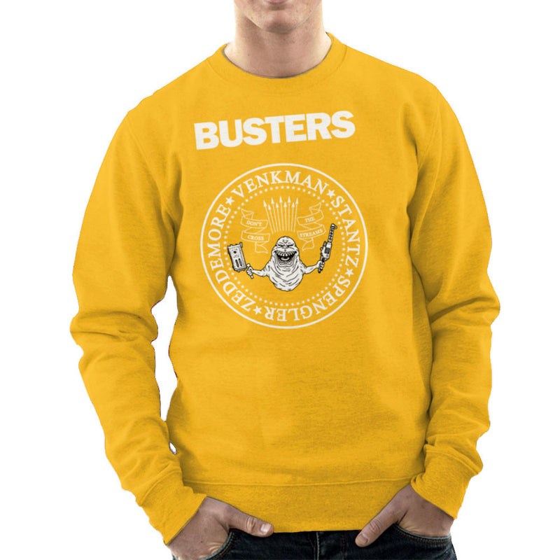 Ramones Busters Slimer Ghostbusters Logo White Men's Sweatshirt Men's Sweatshirt Cloud City 7 - 18