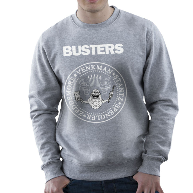 Ramones Busters Slimer Ghostbusters Logo White Men's Sweatshirt Men's Sweatshirt Cloud City 7 - 5
