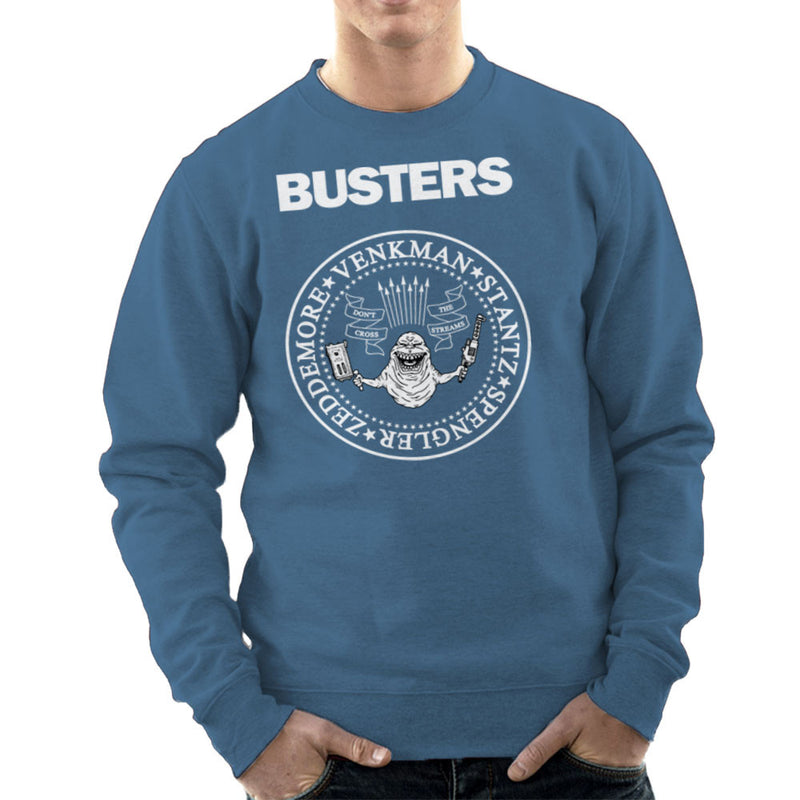 Ramones Busters Slimer Ghostbusters Logo White Men's Sweatshirt Men's Sweatshirt Cloud City 7 - 9