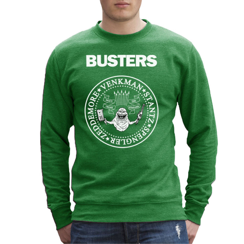 Ramones Busters Slimer Ghostbusters Logo White Men's Sweatshirt Men's Sweatshirt Cloud City 7 - 14