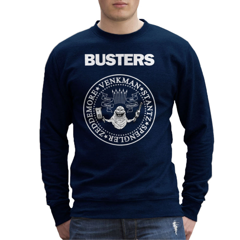 Ramones Busters Slimer Ghostbusters Logo White Men's Sweatshirt Men's Sweatshirt Cloud City 7 - 7