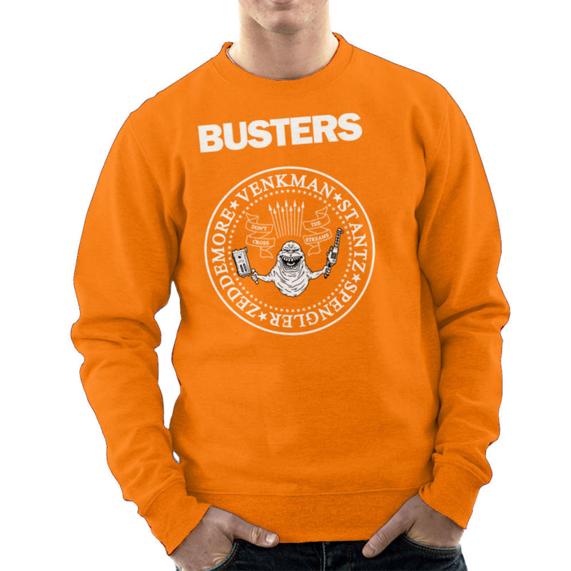 Ramones Busters Slimer Ghostbusters Logo White Men's Sweatshirt Men's Sweatshirt Cloud City 7 - 17