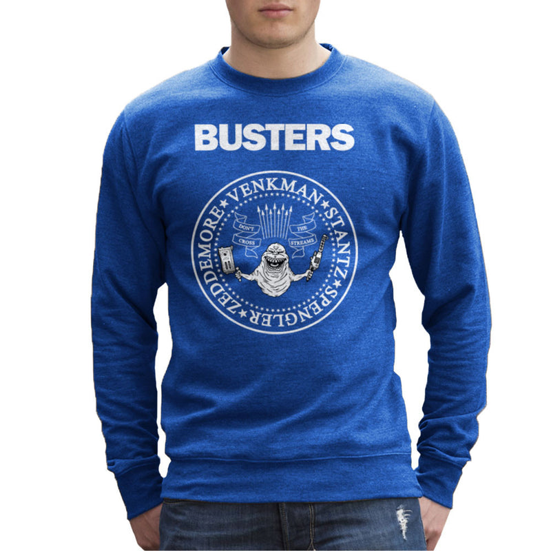 Ramones Busters Slimer Ghostbusters Logo White Men's Sweatshirt Men's Sweatshirt Cloud City 7 - 8
