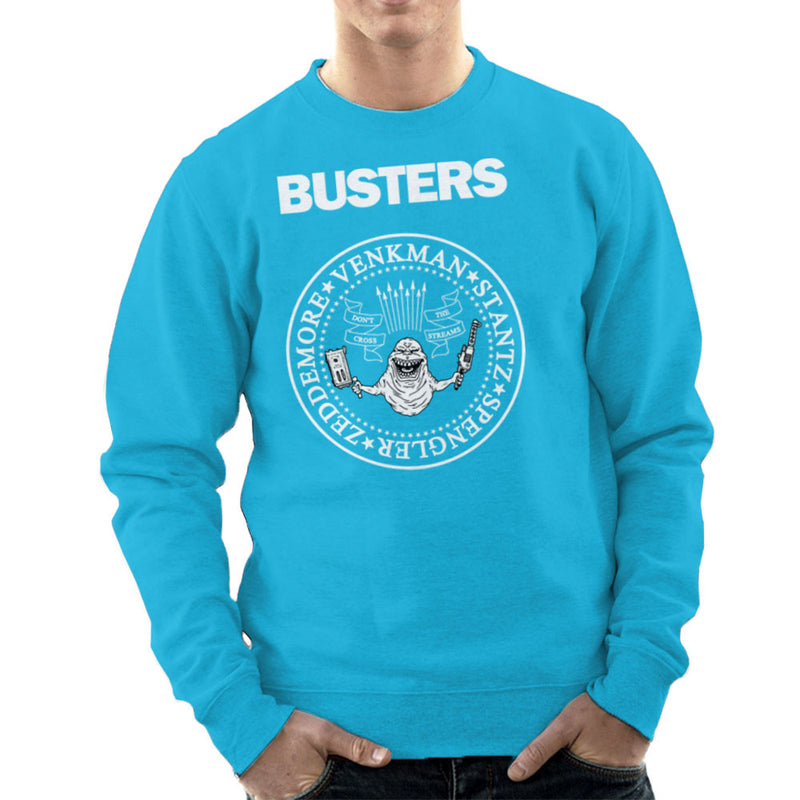 Ramones Busters Slimer Ghostbusters Logo White Men's Sweatshirt Men's Sweatshirt Cloud City 7 - 10