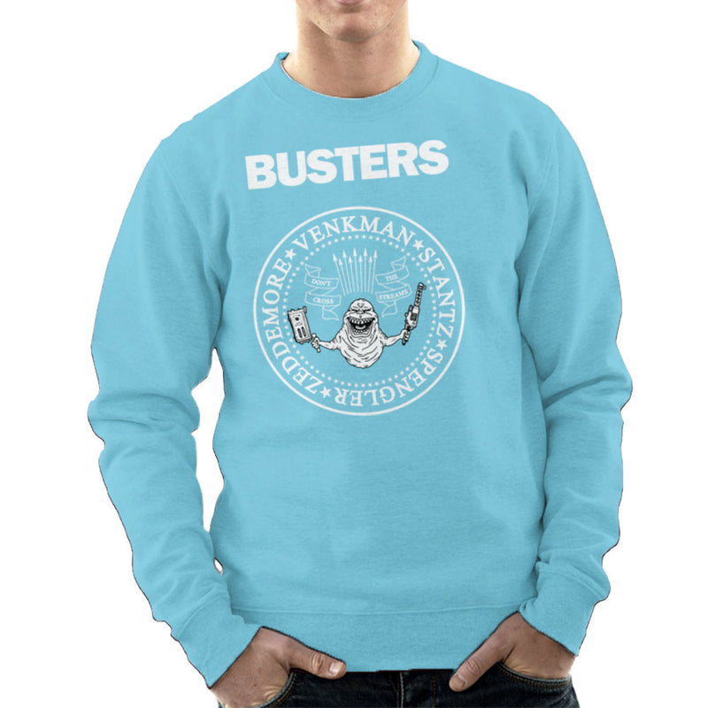 Ramones Busters Slimer Ghostbusters Logo White Men's Sweatshirt Men's Sweatshirt Cloud City 7 - 11