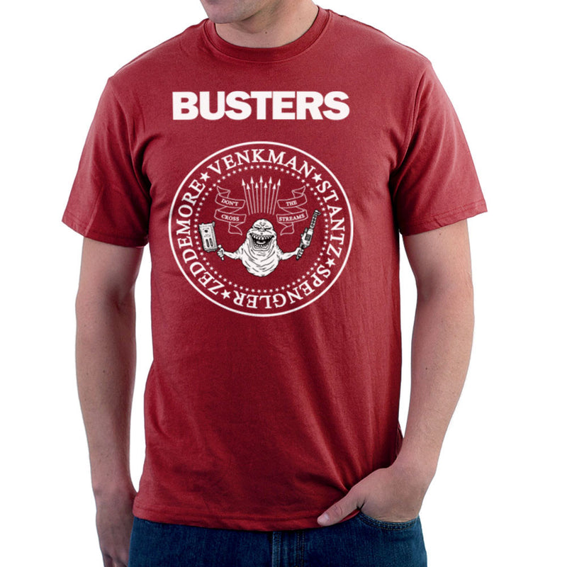 Ramones Busters Slimer Ghostbusters Logo White Men's T-Shirt by Chris Stringer - Cloud City 7