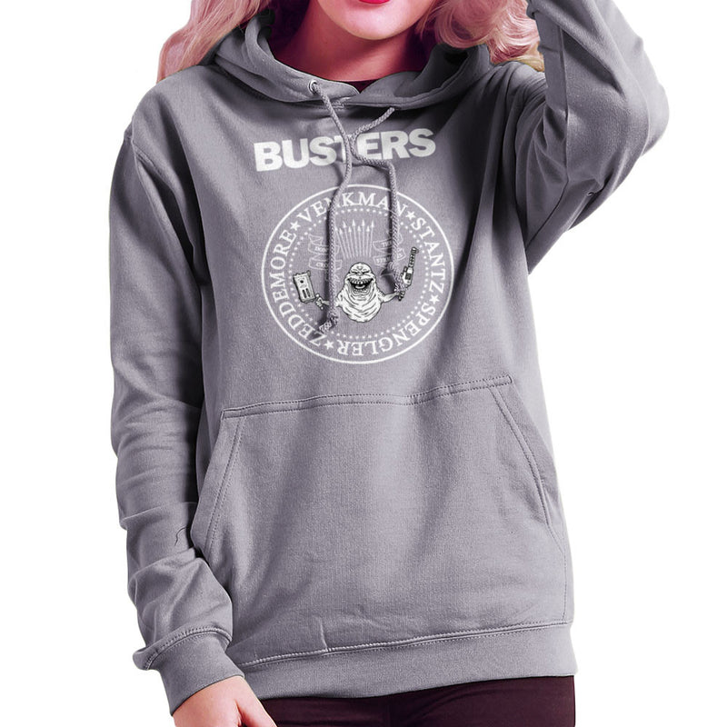 Ramones Busters Slimer Ghostbusters Logo White Women's Hooded Sweatshirt Women's Hooded Sweatshirt Cloud City 7 - 5