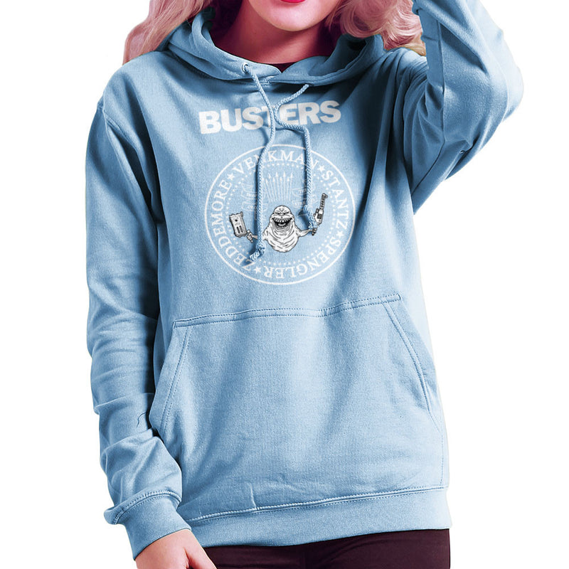 Ramones Busters Slimer Ghostbusters Logo White Women's Hooded Sweatshirt by Chris Stringer - Cloud City 7