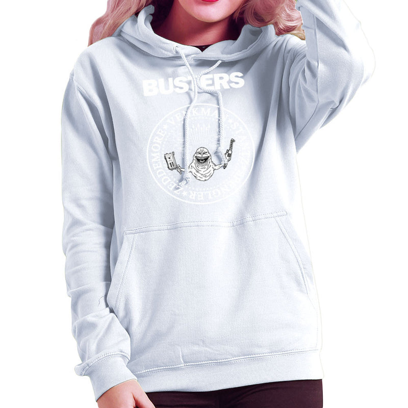 Ramones Busters Slimer Ghostbusters Logo White Women's Hooded Sweatshirt Women's Hooded Sweatshirt Cloud City 7 - 6