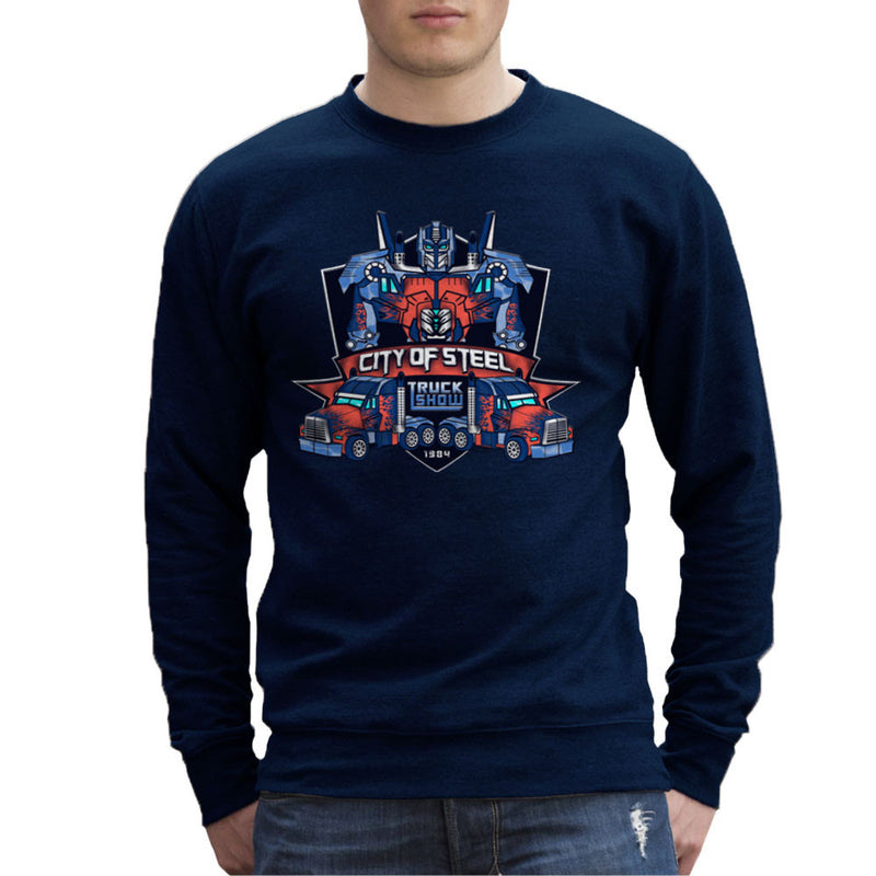 City of Steal Optimus Prime Truck Show Transformers Men's Sweatshirt by Kempo24 - Cloud City 7