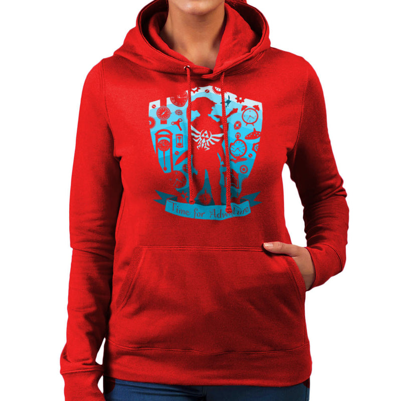 Time for Adventure Link Zelda Badge Women's Hooded Sweatshirt Women's Hooded Sweatshirt Cloud City 7 - 16