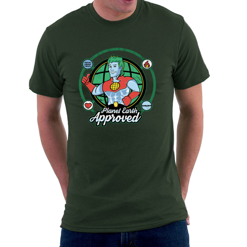 Captain Planet Earth Approved Men's T-Shirt by Kempo24 - Cloud City 7