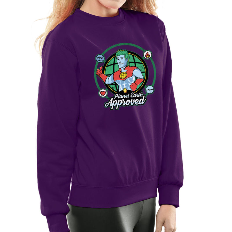 Captain Planet Earth Approved Women's Sweatshirt by Kempo24 - Cloud City 7