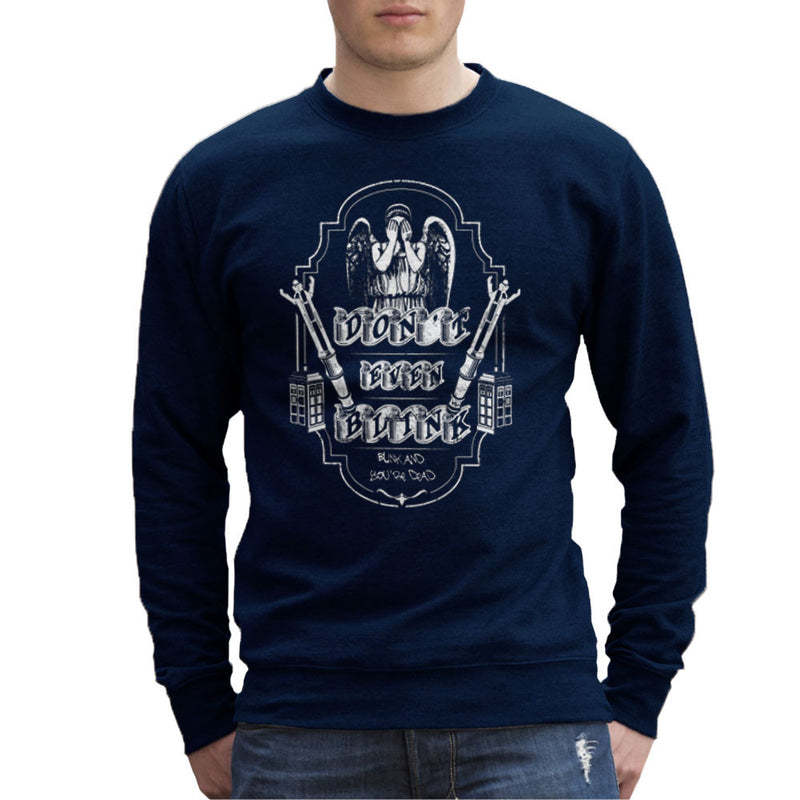 Don't Even Blink Weeping Angels Doctor Who Tardis Men's Sweatshirt by Kempo24 - Cloud City 7