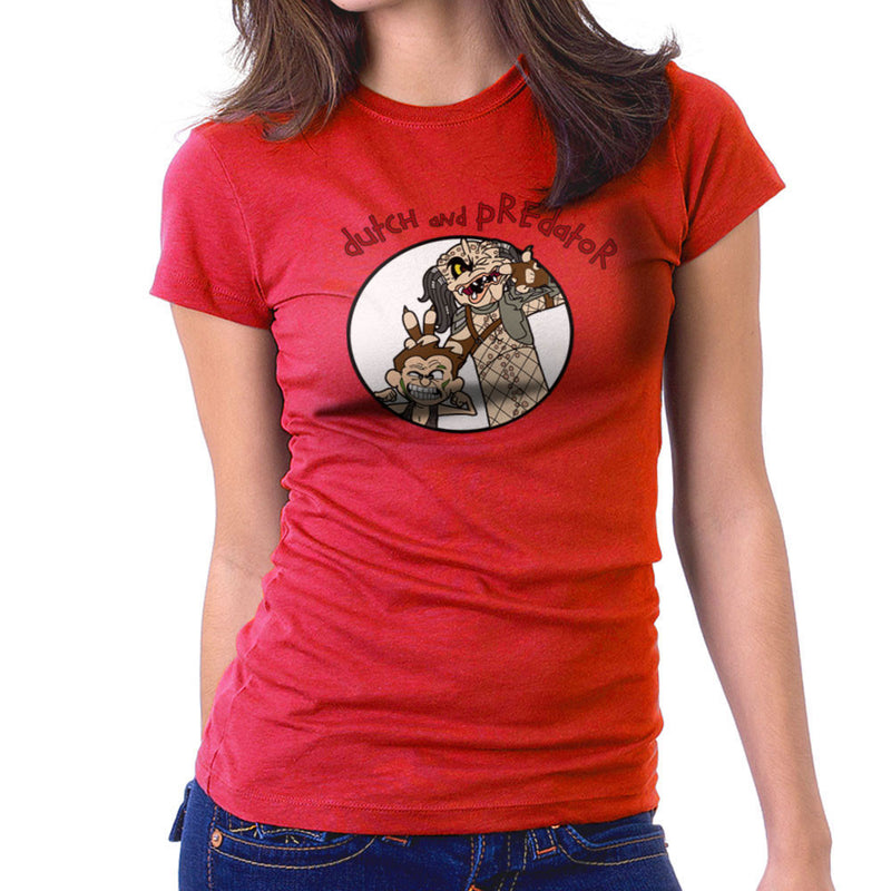 Dutch and Predator Calvin and Hobbes Women's T-Shirt by TopNotchy - Cloud City 7