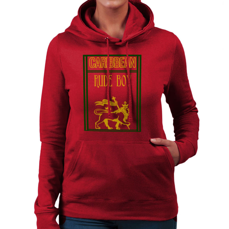 Caribbean Rude Boy Lion Of Judah With Flag Women's Hooded Sweatshirt by Sillicus - Cloud City 7