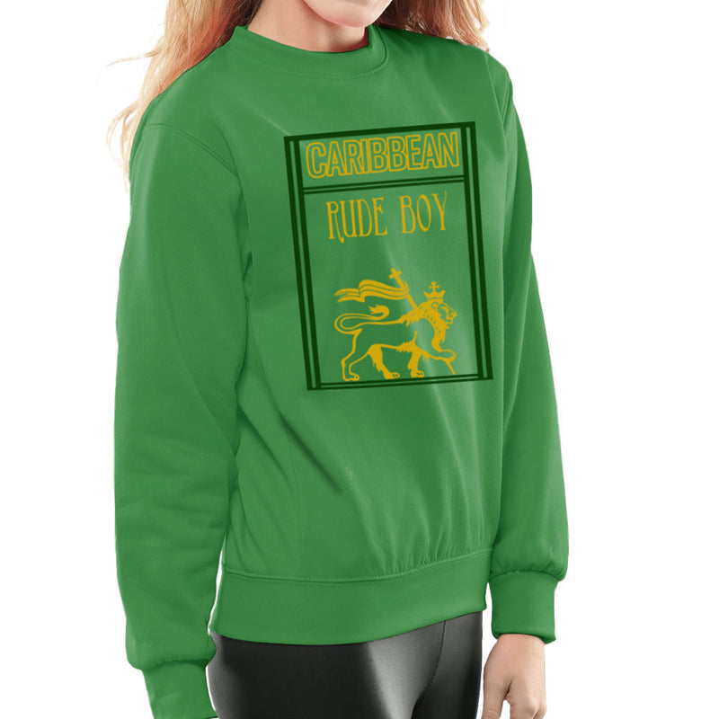 Caribbean Rude Boy Lion Of Judah With Flag Women's Sweatshirt by Sillicus - Cloud City 7