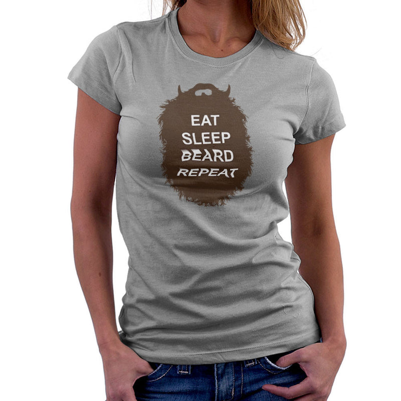 The Beard Collection Eat Sleep Beard Repeat Women's T-Shirt by DarkChoocoolat - Cloud City 7