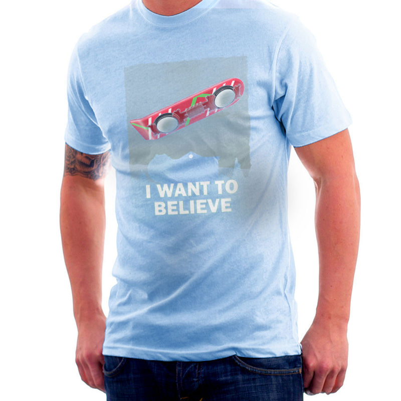 I Want To Believe Back To The Future Hoverboard X Files Men's T-Shirt by Zombie Media - Cloud City 7