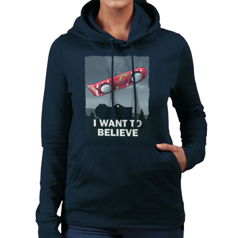 I Want To Believe Back To The Future Hoverboard X Files Women's Hooded Sweatshirt Women's Hooded Sweatshirt Cloud City 7 - 7