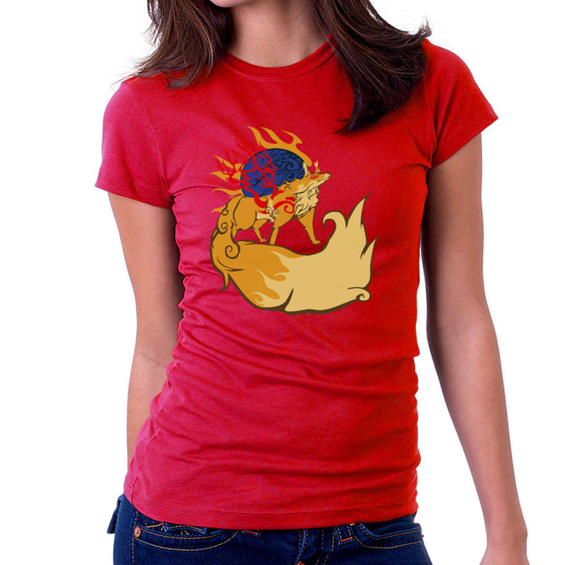 Firekami Okami Amaterasu Firefox Women's T-Shirt by Kravache - Cloud City 7