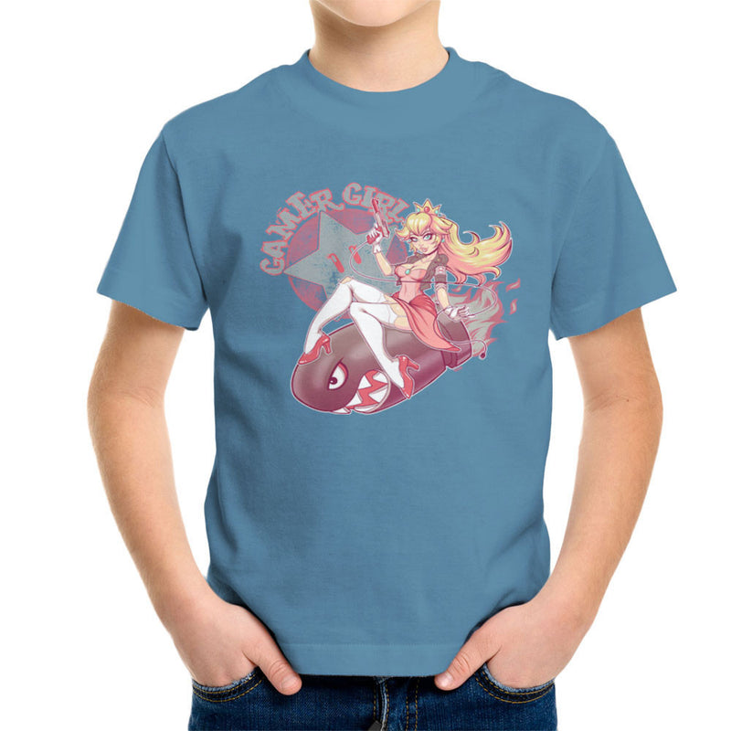 Gamer Girl Princess Peach Riding Bullet Bill Super Mario Kid's T-Shirt by ROLLES - Cloud City 7