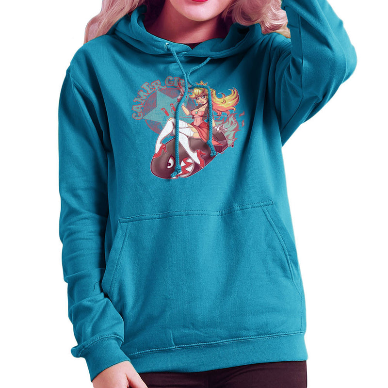 Gamer Girl Princess Peach Riding Bullet Bill Super Mario Women's Hooded Sweatshirt by ROLLES - Cloud City 7