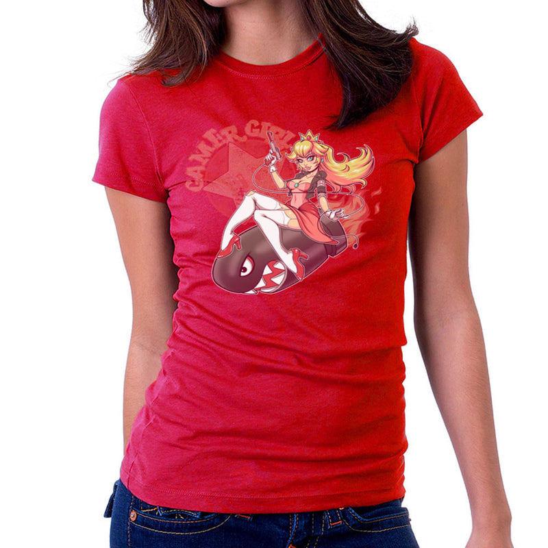 Gamer Girl Princess Peach Riding Bullet Bill Super Mario Women's T-Shirt by ROLLES - Cloud City 7