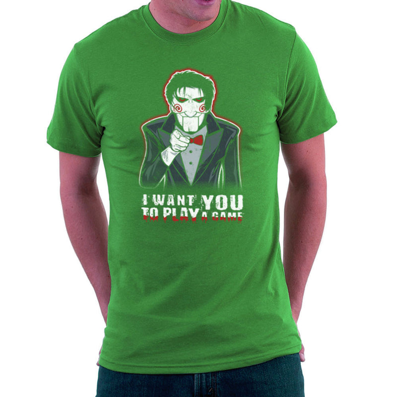 Evil Recruiter Saw Jigsaw Uncle Sam I Want You to Play A Game Men's T-Shirt by Kempo24 - Cloud City 7