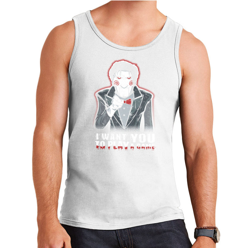 Evil Recruiter Saw Jigsaw Uncle Sam I Want You to Play A Game Men's Vest by Kempo24 - Cloud City 7