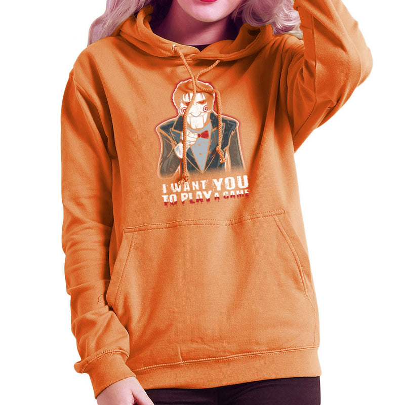 Evil Recruiter Saw Jigsaw Uncle Sam I Want You to Play A Game Women's Hooded Sweatshirt by Kempo24 - Cloud City 7