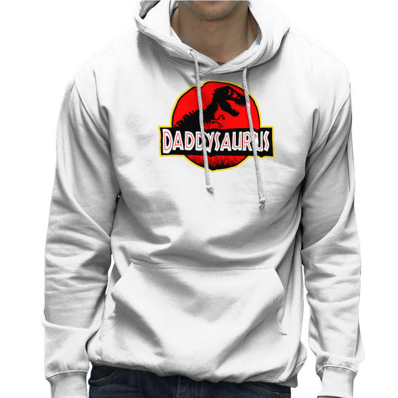 Fathers Day Collection Daddysaurus Jurassic Park Men's Hooded Sweatshirt by Pheasant Omelette - Cloud City 7