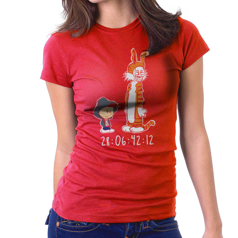 Donnie And Frank Calvin And Hobbes Darko Rabbit Women's T-Shirt by Dansmash - Cloud City 7