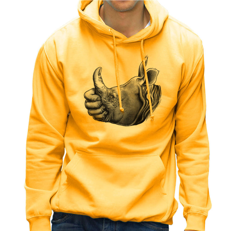 Horn Up Rhinoceros Thumb Men's Hooded Sweatshirt by RicoMambo - Cloud City 7
