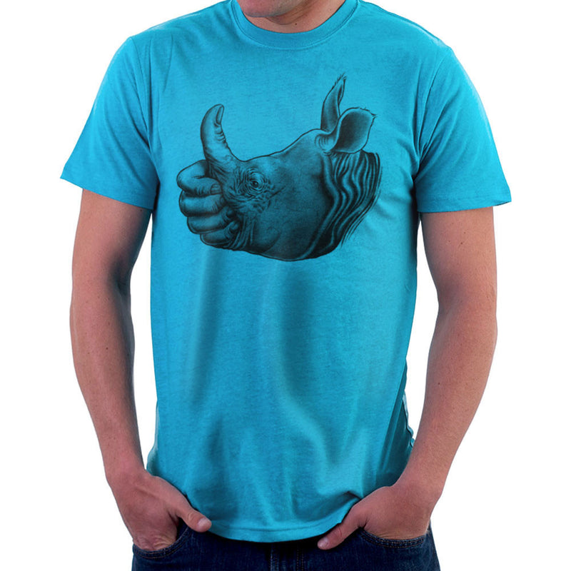 Horn Up Rhinoceros Thumb Men's T-Shirt by RicoMambo - Cloud City 7