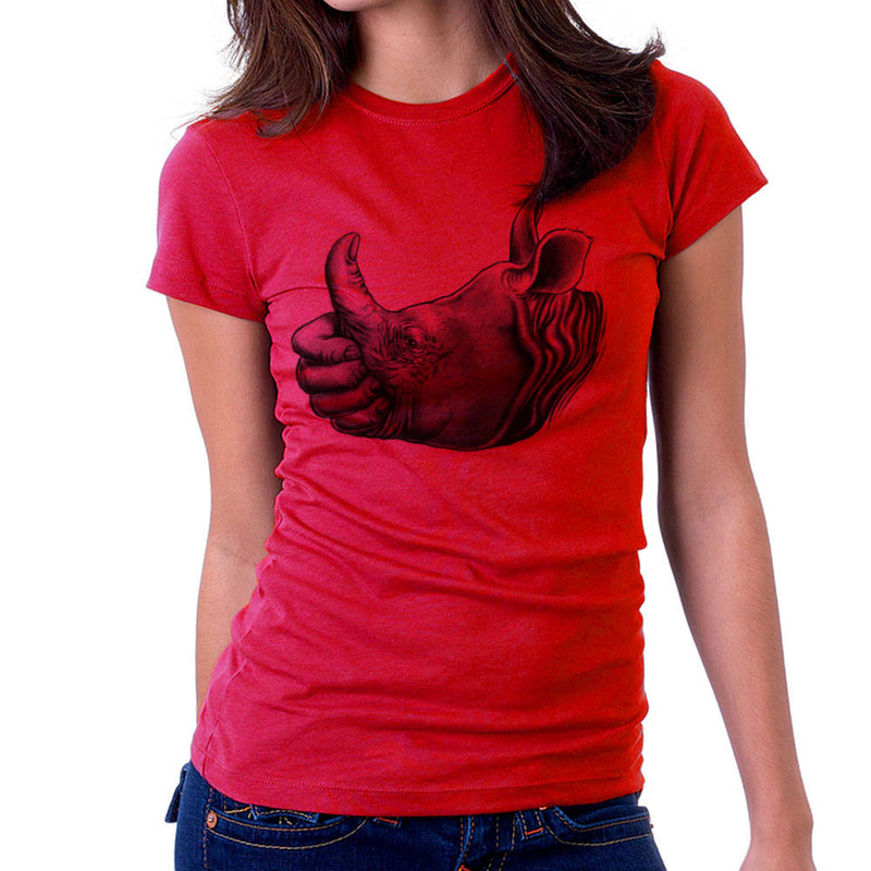 Horn Up Rhinoceros Thumb Women's T-Shirt by RicoMambo - Cloud City 7