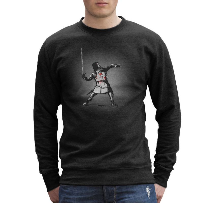 For The Watch Jon Snow Game Of Thrones Banksy Rage The Flower Thrower Men's Sweatshirt by AndreusD - Cloud City 7