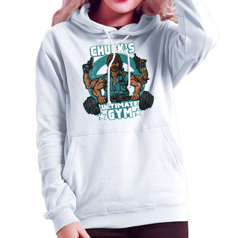 Chucks Ultimate Gym Chuck Norris Women's Hooded Sweatshirt by AndreusD - Cloud City 7
