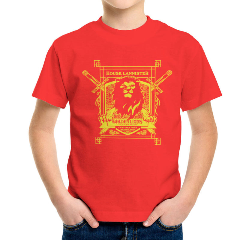 Game Of Thrones House Lannister Golden Lions Hear Us Roar Kid's T-Shirt by AndreusD - Cloud City 7
