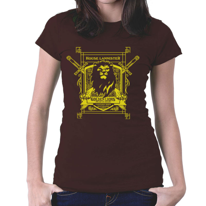 Game Of Thrones House Lannister Golden Lions Hear Us Roar Women's T-Shirt by AndreusD - Cloud City 7