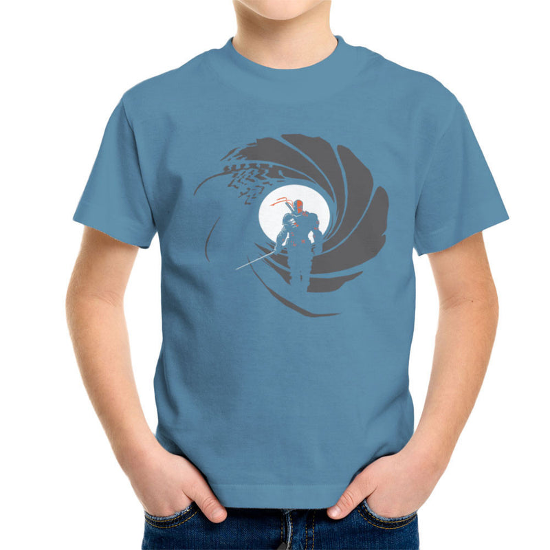 Deathstroke Slade Wilson Licence To Slash James Bond Gun Barrel Kid's T-Shirt by AndreusD - Cloud City 7