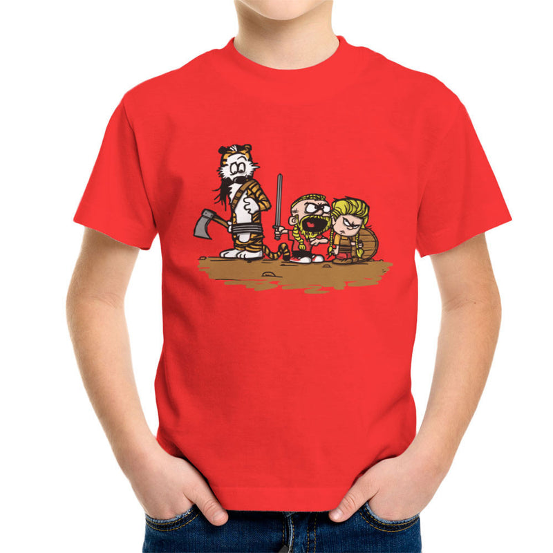 Calvin And Hobbes Vikings Ragnar Lothbrok Kid's T-Shirt by AndreusD - Cloud City 7