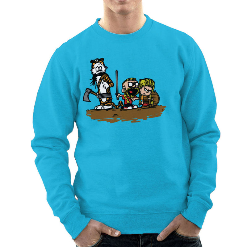 Calvin And Hobbes Vikings Ragnar Lothbrok Men's Sweatshirt by AndreusD - Cloud City 7