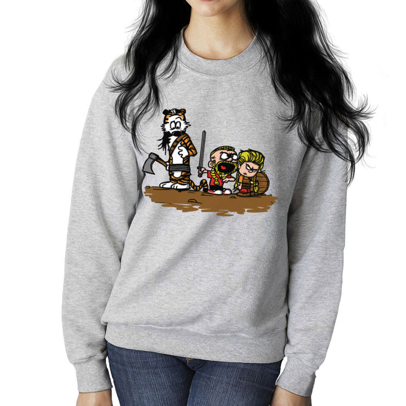 Calvin And Hobbes Vikings Ragnar Lothbrok Women's Sweatshirt by AndreusD - Cloud City 7
