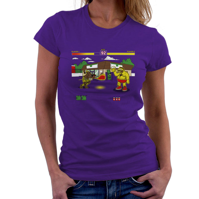 Springfield Fighter Street Fighter Simpsons Barney Zangief Apu Dhalism Women's T-Shirt by AndreusD - Cloud City 7