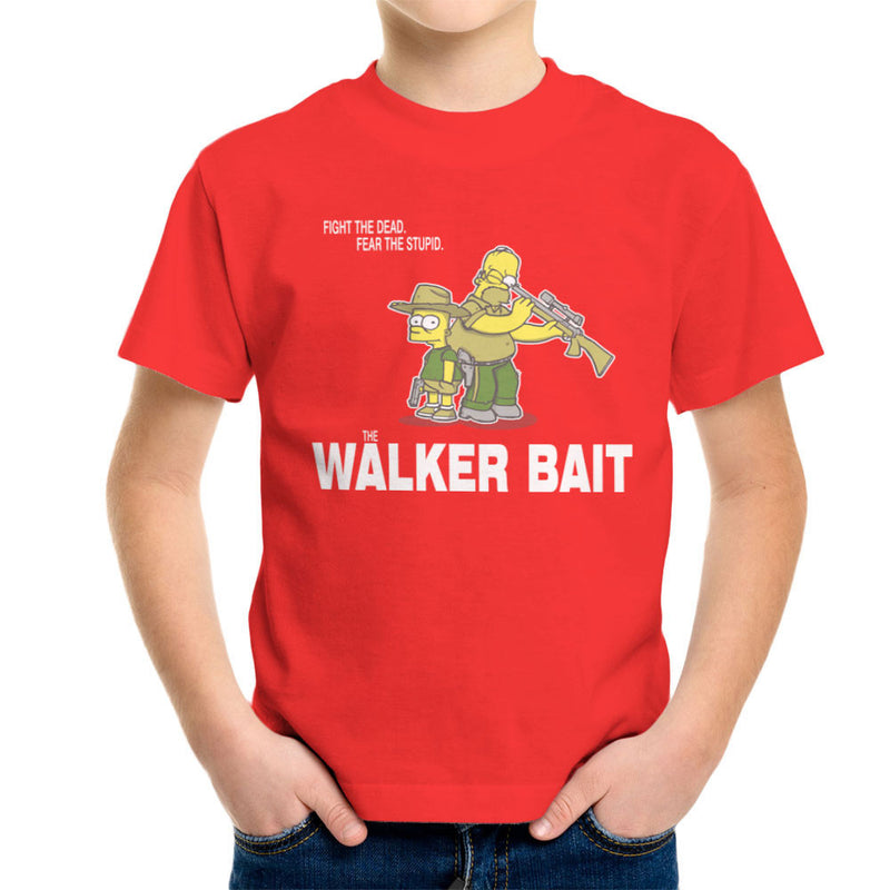 The Walker Bait Walking Dead Rick And Carl Grimes Homer And Bart Simpson Kid's T-Shirt by AndreusD - Cloud City 7