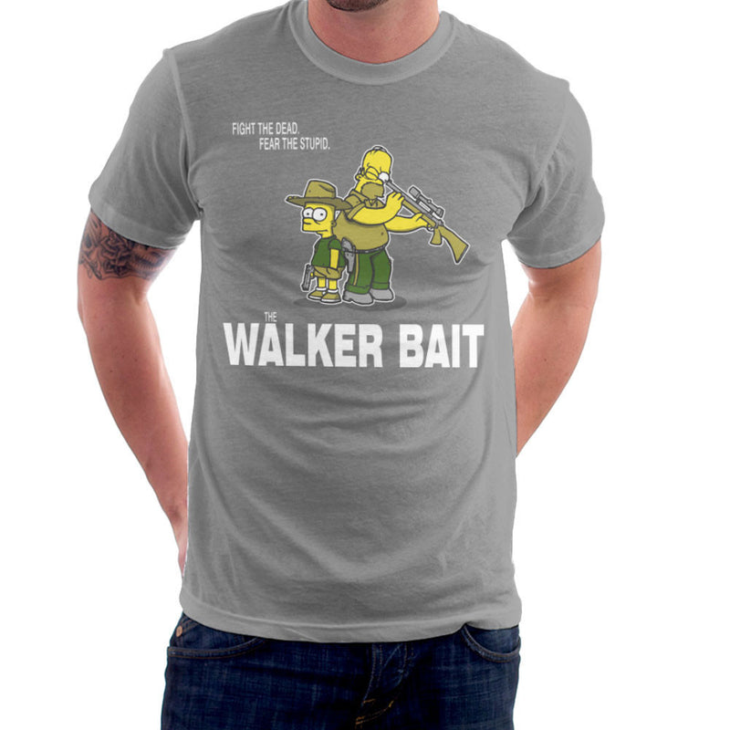 The Walker Bait Walking Dead Rick And Carl Grimes Homer And Bart Simpson Men's T-Shirt by AndreusD - Cloud City 7