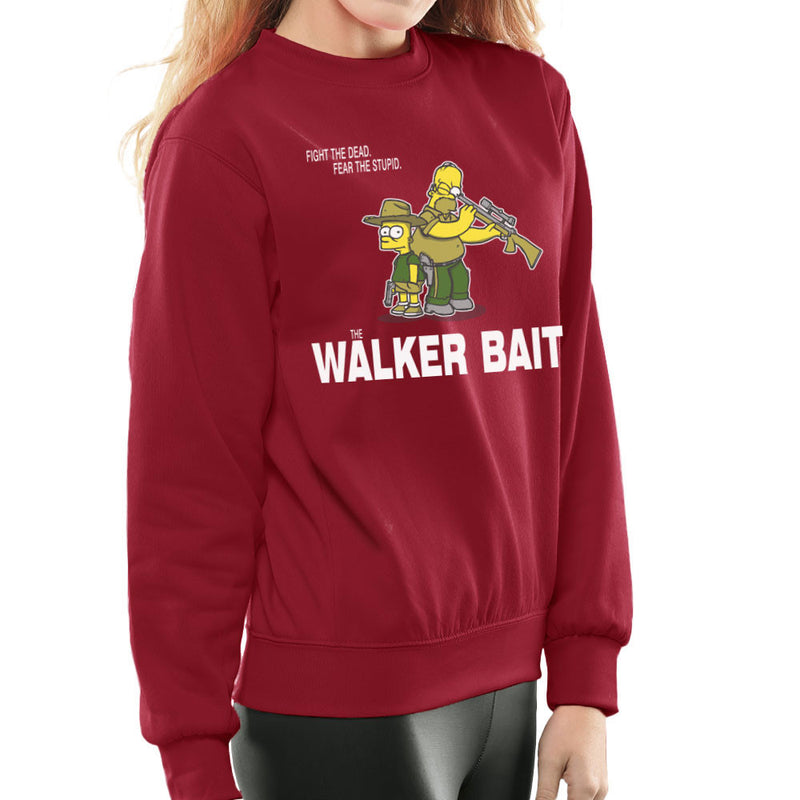 The Walker Bait Walking Dead Rick And Carl Grimes Homer And Bart Simpson Women's Sweatshirt by AndreusD - Cloud City 7